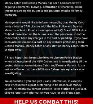 Attention To The Public – Defamation, Bullying, Threats against Money Catch and its Staff – Police Now Investigating
